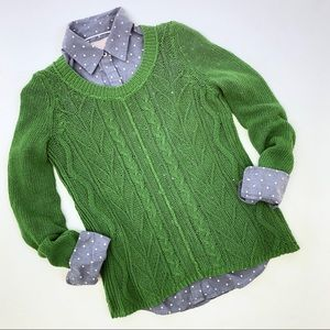 Anthropologie Sparrow green cable-knit sweater S
